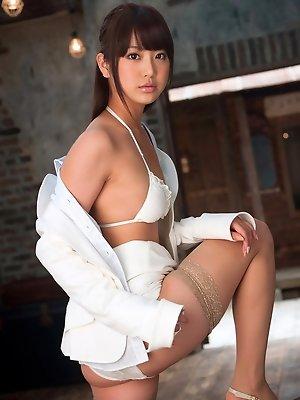 Mina Asakura Asian in stockings takes shirt off and shows tits