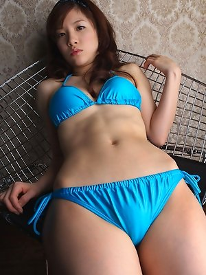 Cocoro Amachi Asian in blue bath suit is incredibly appetizing