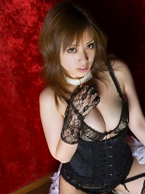 Ayaka Noda Asian with sexy corset has big boobs and juicy behind