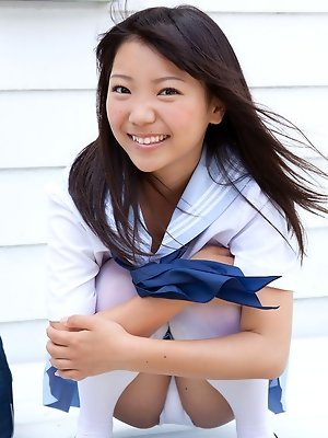 Fuuka Nishihama Asian takes school uniform off piece by piece
