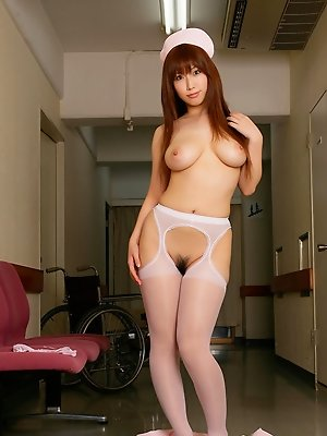 Sexy gravure idol nurse shows off her busty naked boobs