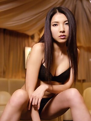 Long haired asian idol with perky plump brests in lingerie