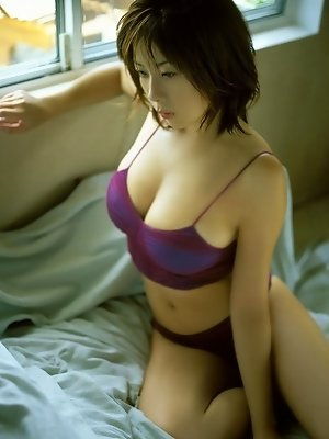Sizzling short haired asian babe in sexy purple lingerie